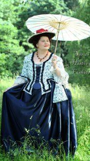 Květované rokoko šaty (modrý květ)