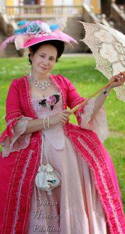 Magenta šaty Robe a la Francaise