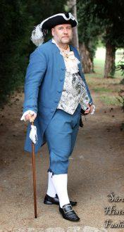 Modrý pánský rokoko kabátec