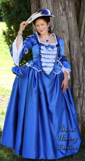 Modré saténové rokoko šaty