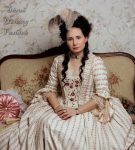 Rokoko šaty s květovaným proužkem